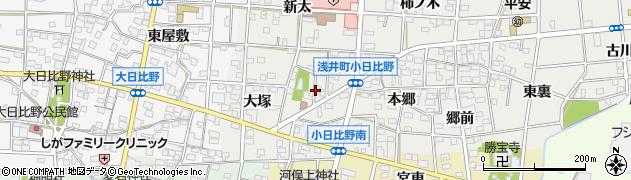 愛知県一宮市浅井町小日比野(宮裏)周辺の地図