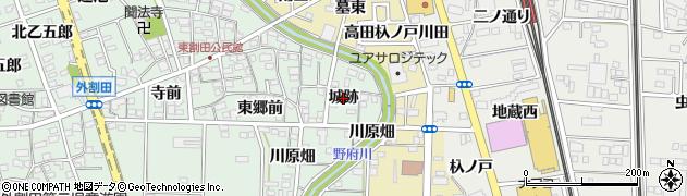 愛知県一宮市木曽川町外割田(城跡)周辺の地図