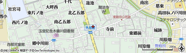 愛知県一宮市木曽川町外割田(郷間)周辺の地図