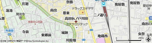 愛知県一宮市木曽川町内割田周辺の地図
