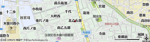 愛知県一宮市木曽川町外割田(北乙五郎)周辺の地図