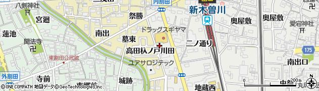 愛知県一宮市木曽川町黒田(高田)周辺の地図