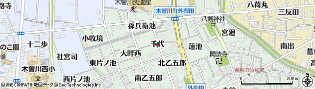 愛知県一宮市木曽川町外割田(千代)周辺の地図