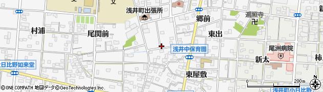 愛知県一宮市浅井町大日比野(北浦)周辺の地図