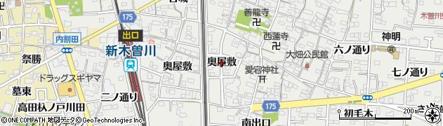 愛知県一宮市木曽川町黒田(奥屋敷)周辺の地図