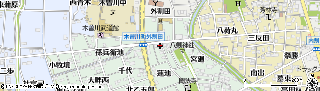 愛知県一宮市木曽川町外割田(東千代)周辺の地図