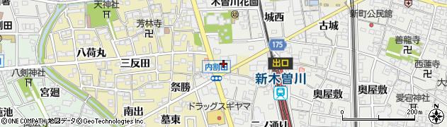 愛知県一宮市木曽川町内割田(寺前)周辺の地図