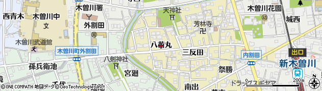 愛知県一宮市木曽川町内割田(八荷丸)周辺の地図
