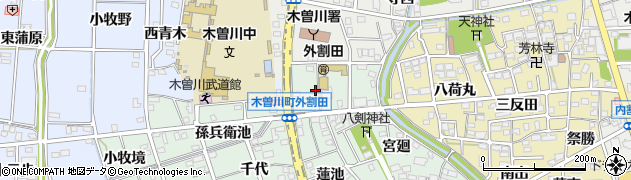 愛知県一宮市木曽川町外割田(摺鉢)周辺の地図