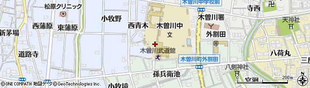 愛知県一宮市木曽川町里小牧(南青木)周辺の地図