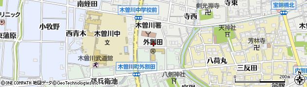 愛知県一宮市木曽川町黒田(南青木)周辺の地図