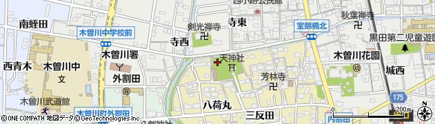 愛知県一宮市木曽川町内割田(宮ノ腰)周辺の地図