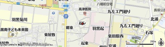 愛知県犬山市羽黒新田(起シ)周辺の地図