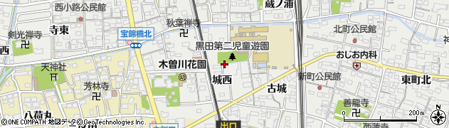 愛知県一宮市木曽川町黒田(城西)周辺の地図