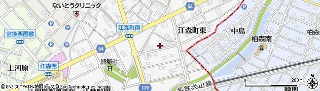 愛知県江南市江森町(東)周辺の地図