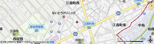 愛知県江南市江森町(西)周辺の地図