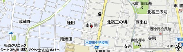 愛知県一宮市木曽川町黒田(南新開)周辺の地図