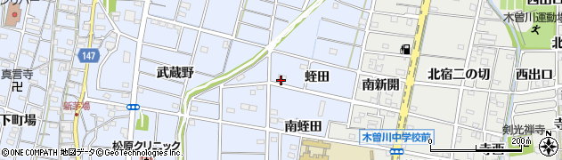 愛知県一宮市木曽川町里小牧(北蛭田)周辺の地図