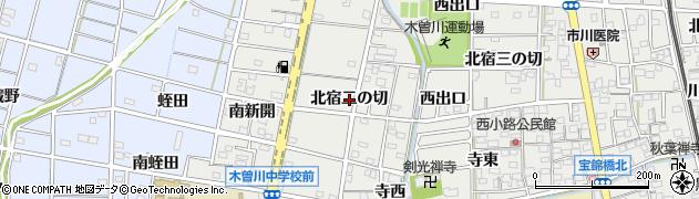 愛知県一宮市木曽川町黒田(北宿二の切)周辺の地図