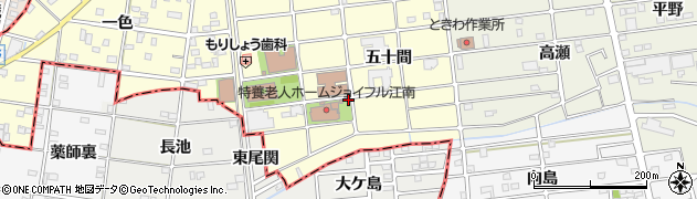 愛知県江南市河野町(五十間)周辺の地図