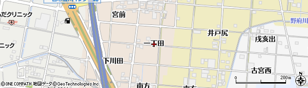 愛知県一宮市田所(一丁田)周辺の地図