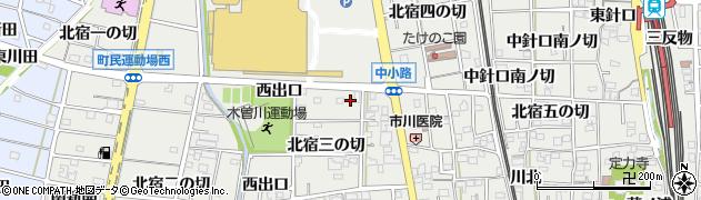 愛知県一宮市木曽川町黒田(中出口)周辺の地図