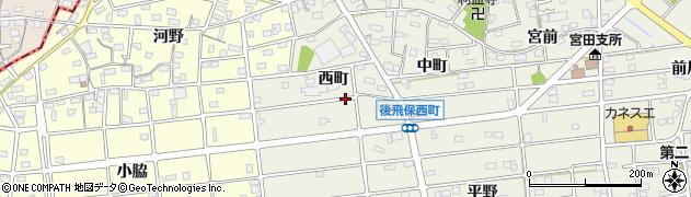 愛知県江南市後飛保町(西町)周辺の地図