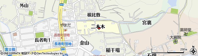 愛知県犬山市二本木周辺の地図