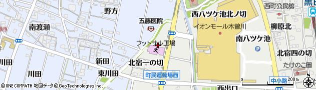 愛知県一宮市木曽川町黒田(西森起)周辺の地図