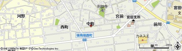 愛知県江南市後飛保町(中町)周辺の地図