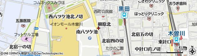愛知県一宮市木曽川町黒田(南八ツケ池)周辺の地図
