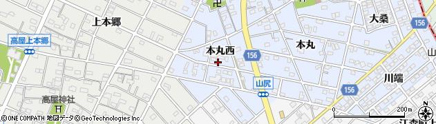 愛知県江南市山尻町(本丸西)周辺の地図