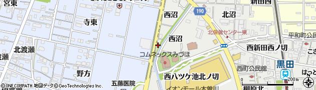 愛知県一宮市木曽川町黒田(西沼南ノ切)周辺の地図