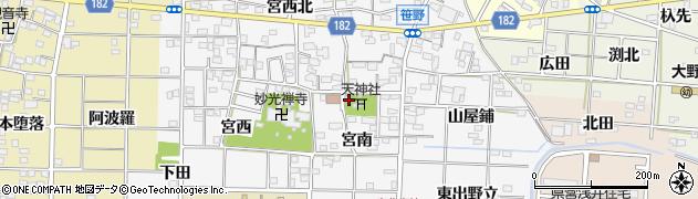 愛知県一宮市笹野周辺の地図