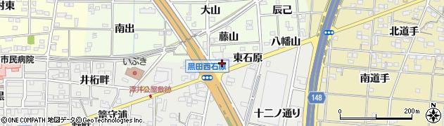 愛知県一宮市木曽川町黒田(西石原)周辺の地図