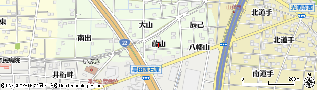 愛知県一宮市更屋敷(藤山)周辺の地図