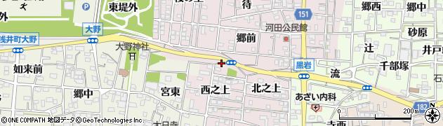愛知県一宮市浅井町河田(墓西)周辺の地図