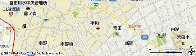 愛知県江南市宮田町(平和)周辺の地図