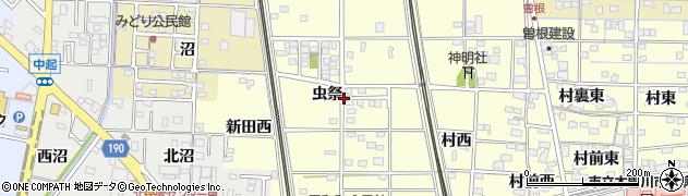 愛知県一宮市北方町曽根(虫祭)周辺の地図
