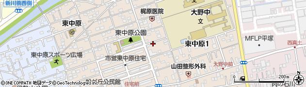 神奈川県平塚市東中原周辺の地図