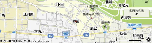 愛知県一宮市浅井町極楽寺(郷前)周辺の地図