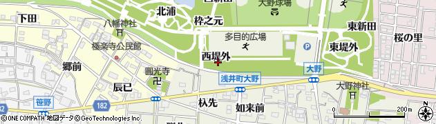 愛知県一宮市浅井町大野(西堤外)周辺の地図