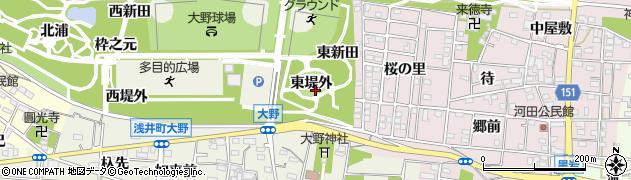 愛知県一宮市浅井町大野(東堤外)周辺の地図