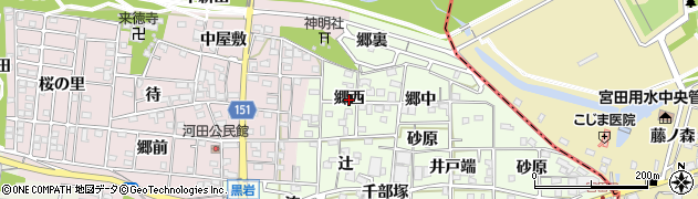 愛知県一宮市浅井町黒岩(郷西)周辺の地図
