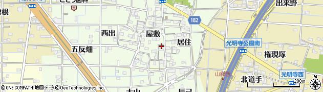 愛知県一宮市更屋敷周辺の地図