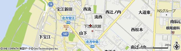 愛知県一宮市北方町中島(下出東)周辺の地図
