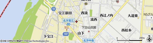 愛知県一宮市北方町北方(宝江新田砂越)周辺の地図