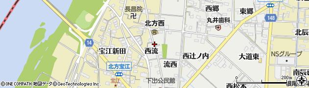 愛知県一宮市北方町中島(西流)周辺の地図