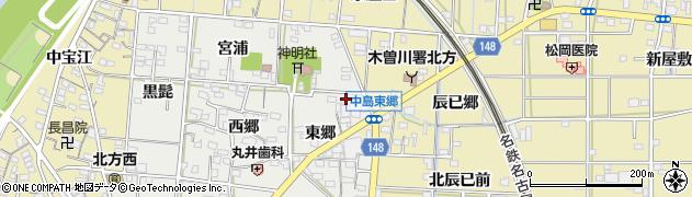 愛知県一宮市北方町中島(宮東)周辺の地図