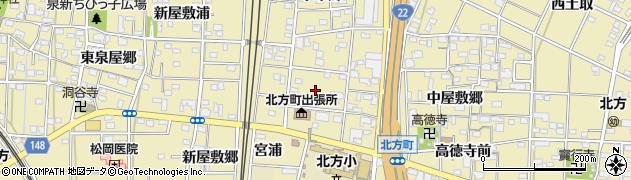 愛知県一宮市北方町北方(勅使)周辺の地図